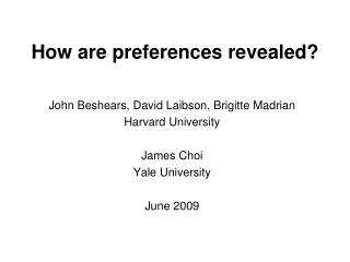How are preferences revealed?