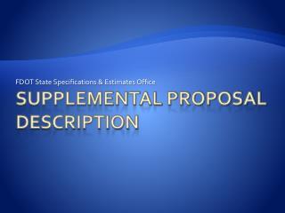 Supplemental Proposal Description