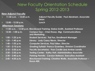 New  Faculty Orientation  Schedule Spring 2012-2013