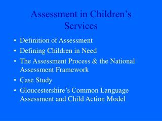 Assessment in Children�s Services