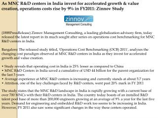 As MNC R&D centers in India invest for accelerated growth &