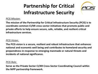Partnership for Critical  Infrastructure Security