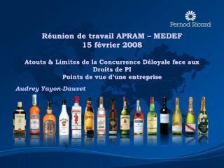 R�union de travail APRAM � MEDEF  15 f�vrier 2008 Atouts & Limites de la Concurrence D�loyale face aux Droits de PI Poi
