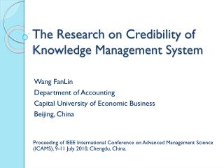 The Research on Credibility of Knowledge Management System