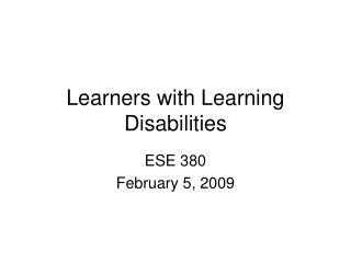 Learners with Learning Disabilities
