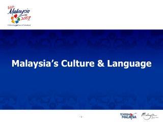 Malaysia's Culture & Language