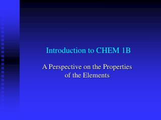 Introduction to CHEM 1B