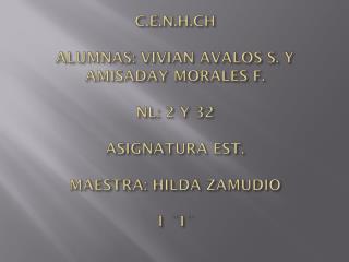 C.E.N.H.CH ALUMNAS: VIVIAN AVALOS S. Y AMISADAY MORALES F. NL: 2 Y 32 ASIGNATURA EST. MAESTRA:  HILDA ZAMUDIO 1 ¨I¨