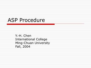ASP Procedure