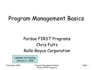 Program Management Basics