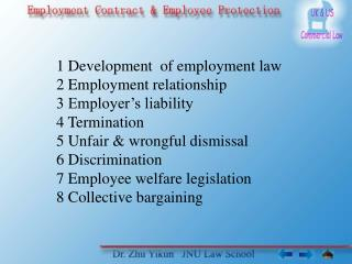 1  Development  of employment law 2 Employment relationship 3 Employer's liability 4 Termination 5 Unfair & wrongful di