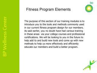 Fitness Program Elements
