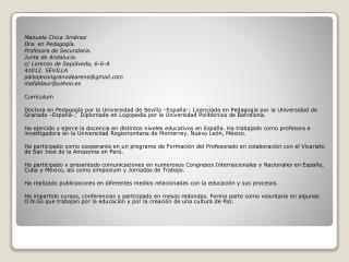 Manuela Chica Jiménez Dra. en Pedagogía. Profesora de Secundaria. Junta de  Andalucia . c/ Lorenzo de Sepúlveda, 6-6-A