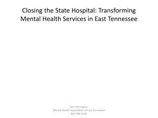 Closing the State Hospital: Transforming Mental Health Services in East Tennessee