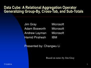 Data Cube: A Relational Aggregation Operator Generalizing Group-By, Cross-Tab, and Sub-Totals