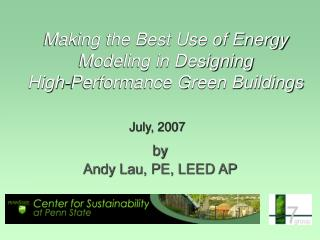 Making the Best Use of Energy Modeling in Designing  High-Performance Green Buildings