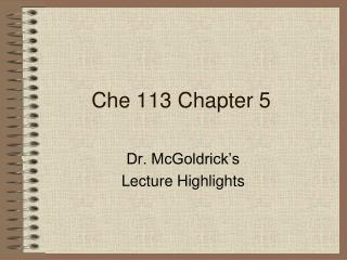 Che 113 Chapter 5