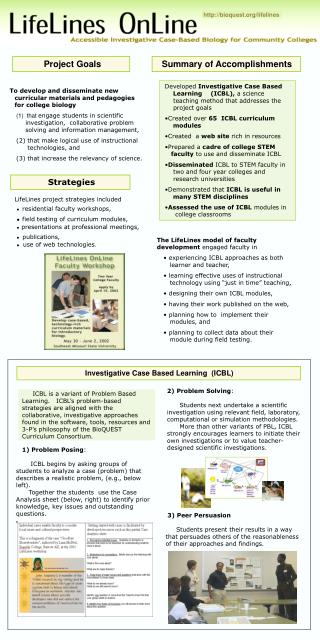 Developed  Investigative Case Based     Learning (ICBL),  a science     teaching method that addresses the     project