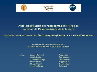 Jury :Ludovic FerrandRapporteur Hervé GlotinExaminateur Jonathan Grainger Co-directeur Bernard Lété