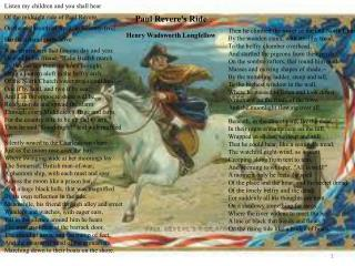 Paul Revere's Ride Henry Wadsworth Longfellow