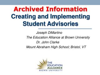 Archived Information Creating and Implementing Student Advisories