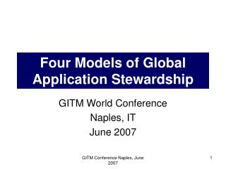 Four Models of Global Application Stewardship