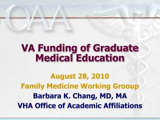 VA Funding of Graduate Medical Education
