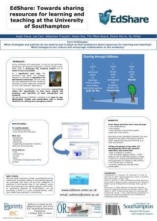 EdShare: Towards sharing resources for learning and teaching at the University of Southampton