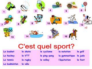 Le basketle skatele cyclismela natationle golf Le hockeyle VTTle ping-pongla gymnastiquele judo Le tennisle