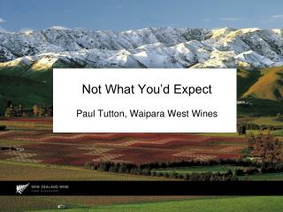 Not What You�d Expect Paul  Tutton , Waipara West Wines