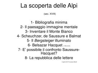 La scoperta delle Alpi (sec. XVIII)