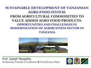 SUSTAINABLE DEVELOPMENT OF TANZANIAN AGRO-FOOD SYSTEM:  FROM AGRICULTURAL COMMODITIES TO VALUE ADDED AGRO FOOD PRODUCTS-