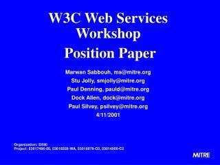 W3C Web Services Workshop