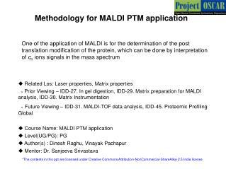 Methodology for MALDI PTM application