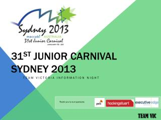 31 st  Junior Carnival Sydney 2013