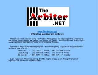 Arbiter Assigner Training for Officials