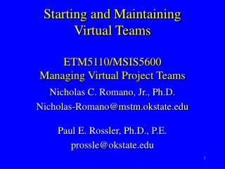 Starting and Maintaining Virtual Teams   ETM5110