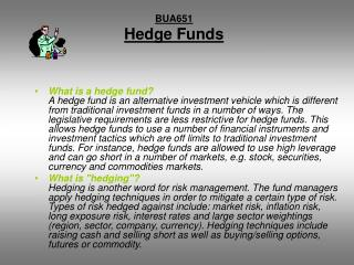 BUA651 Hedge Funds