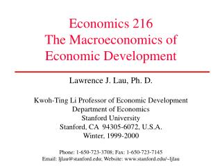 Economics 216 The Macroeconomics of Economic Development