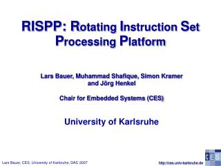 RISPP: R otating  I nstruction  S et P rocessing  P latform