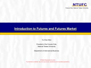 Introduction to Futures and Futures Market