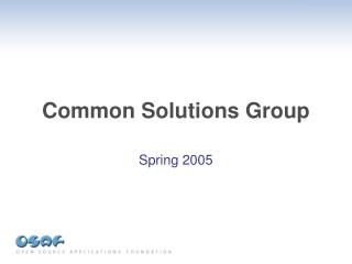 Common Solutions Group