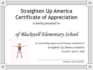 Straighten Up America Certificate of Appreciation