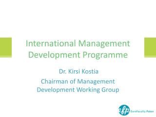 International Management  Development P rogramme