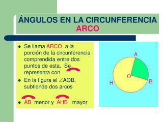 NGULOS EN LA CIRCUNFERENCIA ARCO