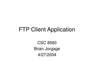 FTP Client Application