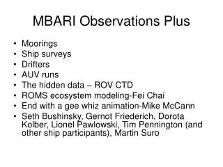 MBARI Observations Plus