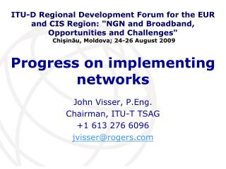 Progress on implementing networks