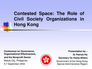 Contested Space: The Role of Civil Society Organizations in Hong Kong