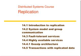 Distributed Systems Course Replication